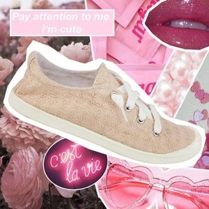 Shoes - NWT pink/blush embroidered flat sneaker